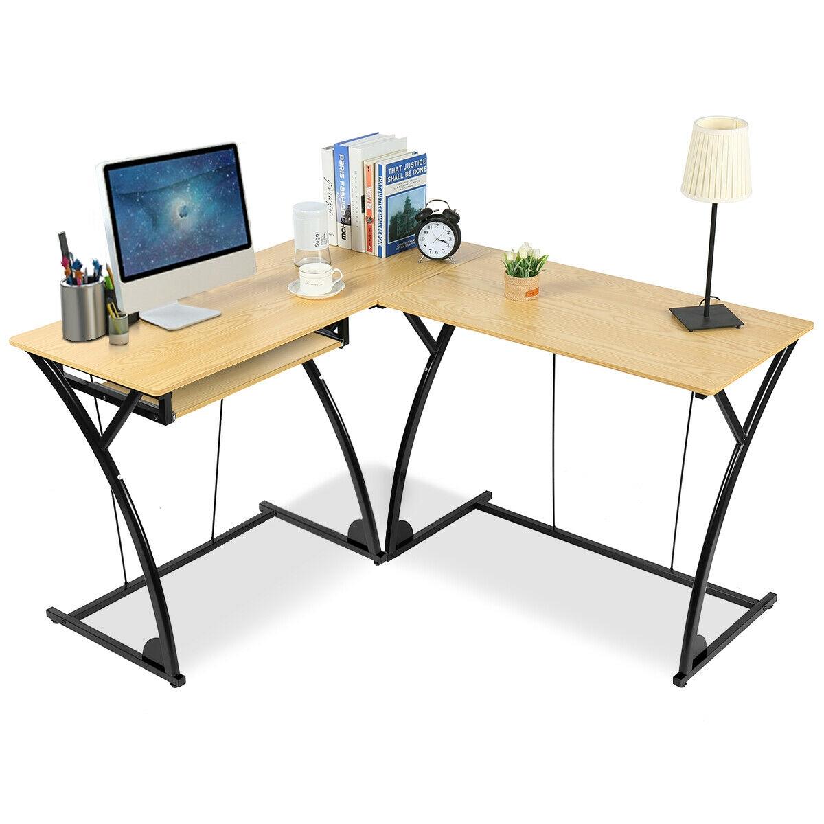 L-Shaped Home Office Corner Desk Computer PC Laptop Table