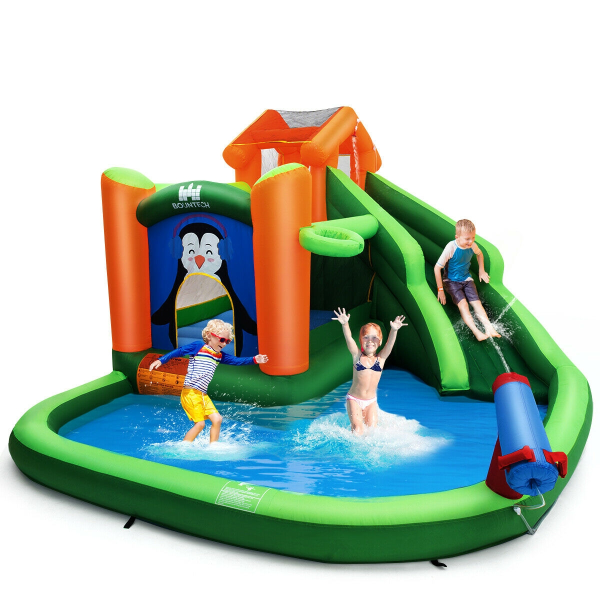 Inflatable Water Park Bouncer with Climbing Wall Splash Pool Water Cannon