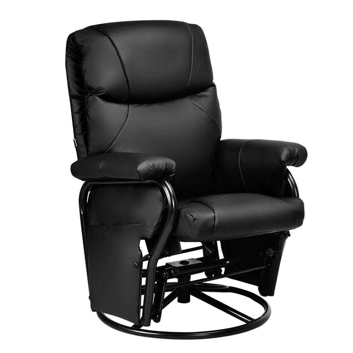 Glider Swivel Rocking PU Leather Recliner Chair-Black