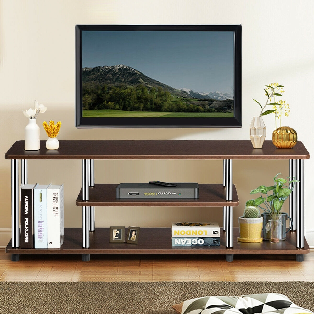 3-Tier 110lbs Stainless Steel Listed Universal TV Stand