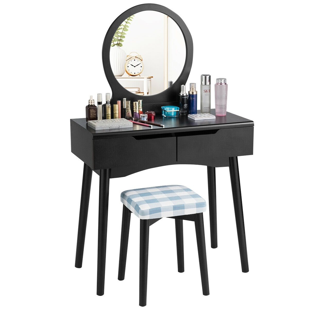 Vanity Set W/Round Mirror 2 Drawers Cushioned Stool Makeup Dressing Table Black