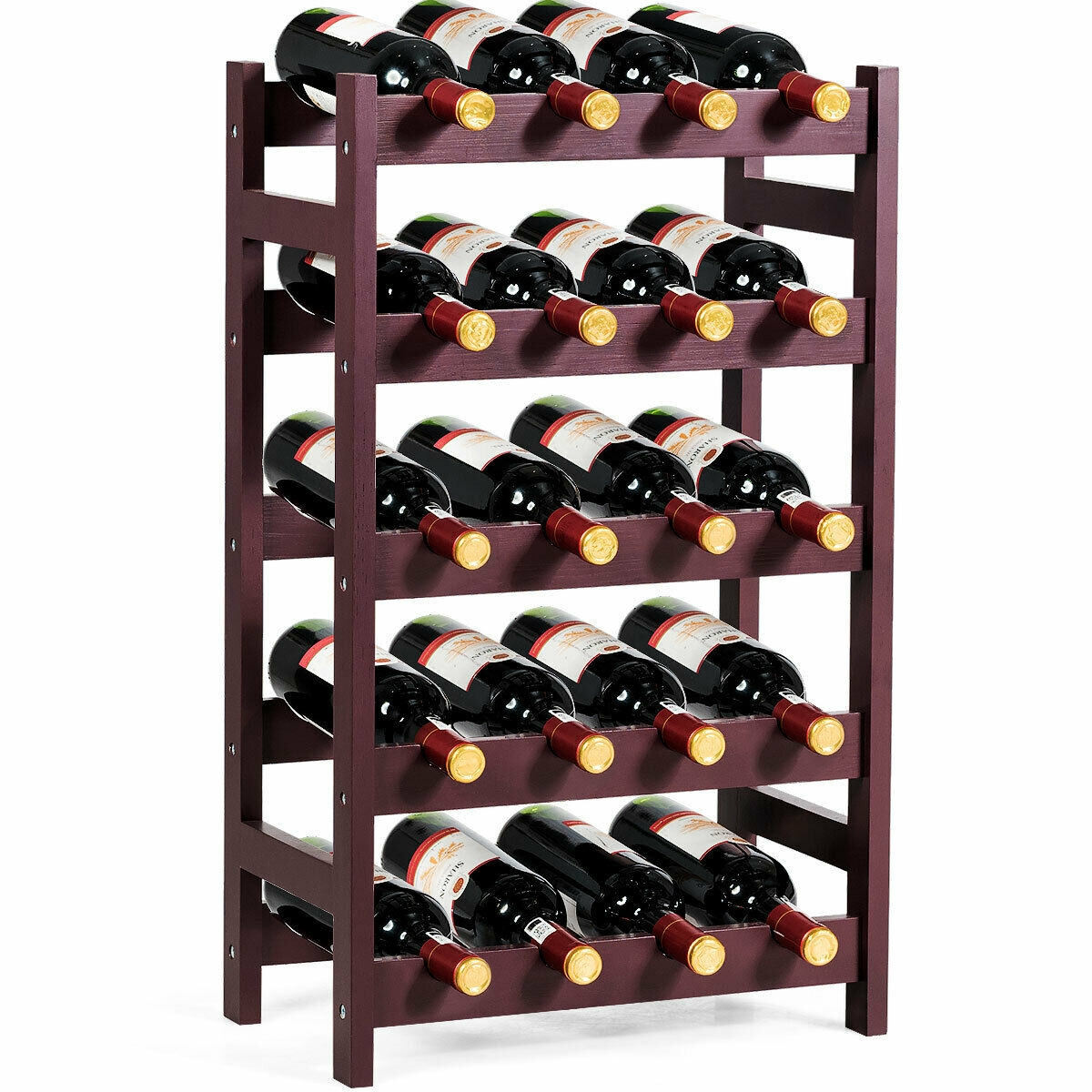 Wood Wine Rack 5-Tier Bottle Display Storage Shelf Free Standing