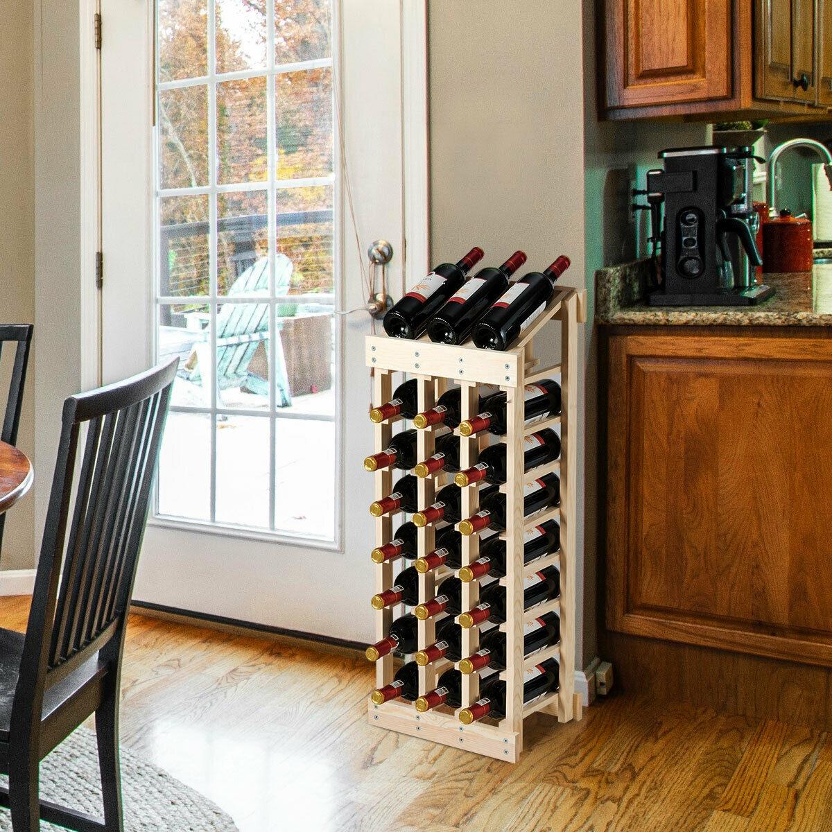 Wood Wine Rack Storage Display Shelf Free Standing