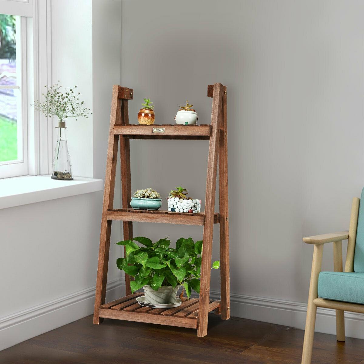 3-Tier Folding Flower Stand Rack Wood Plant Storage Display Shelf