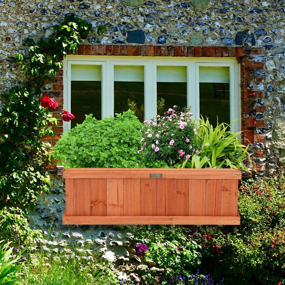 28 Inch Wooden Flower Planter Box Garden Yard Decorative Window Box