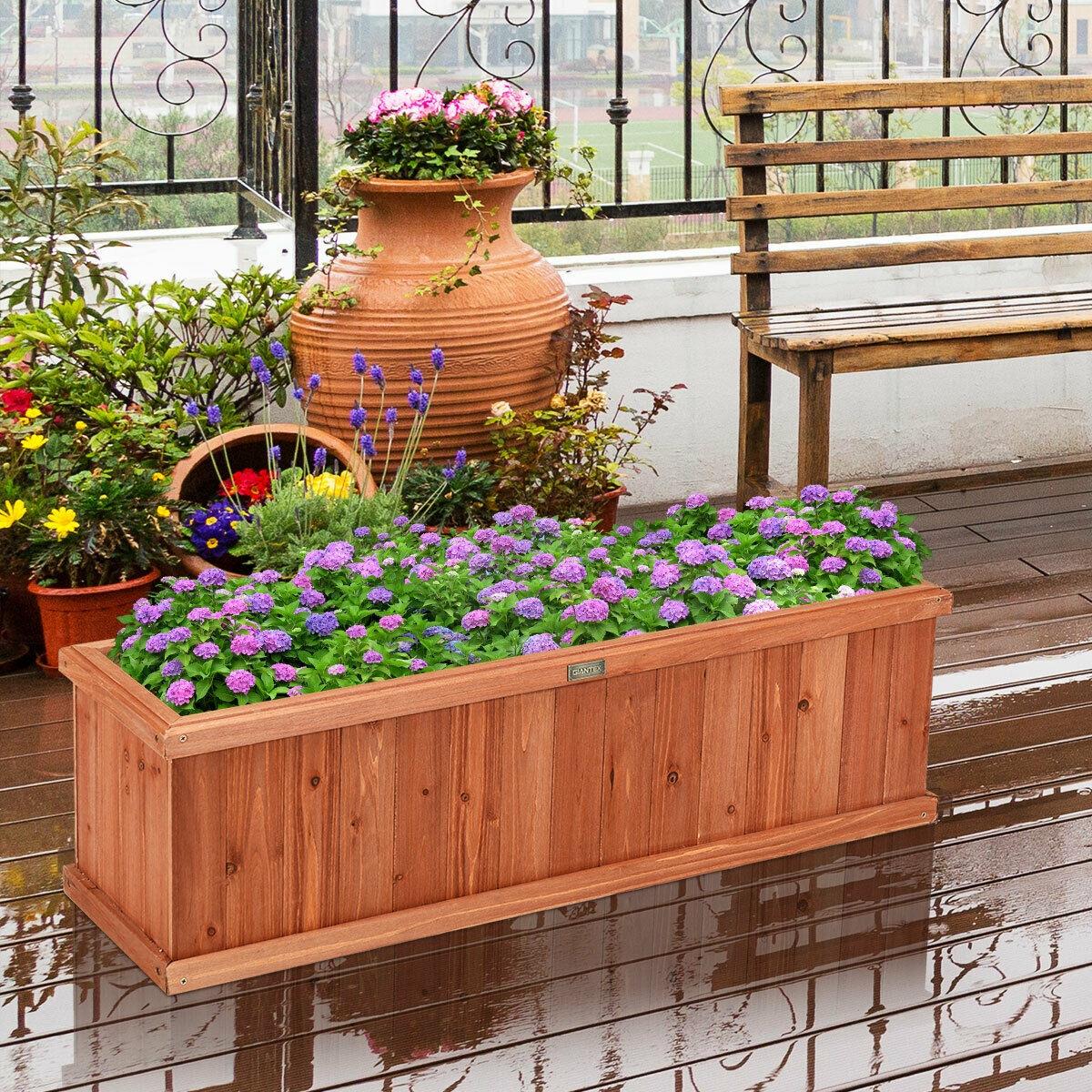 40 Inch Wooden Flower Planter Box Garden Yard Decorative Window Box