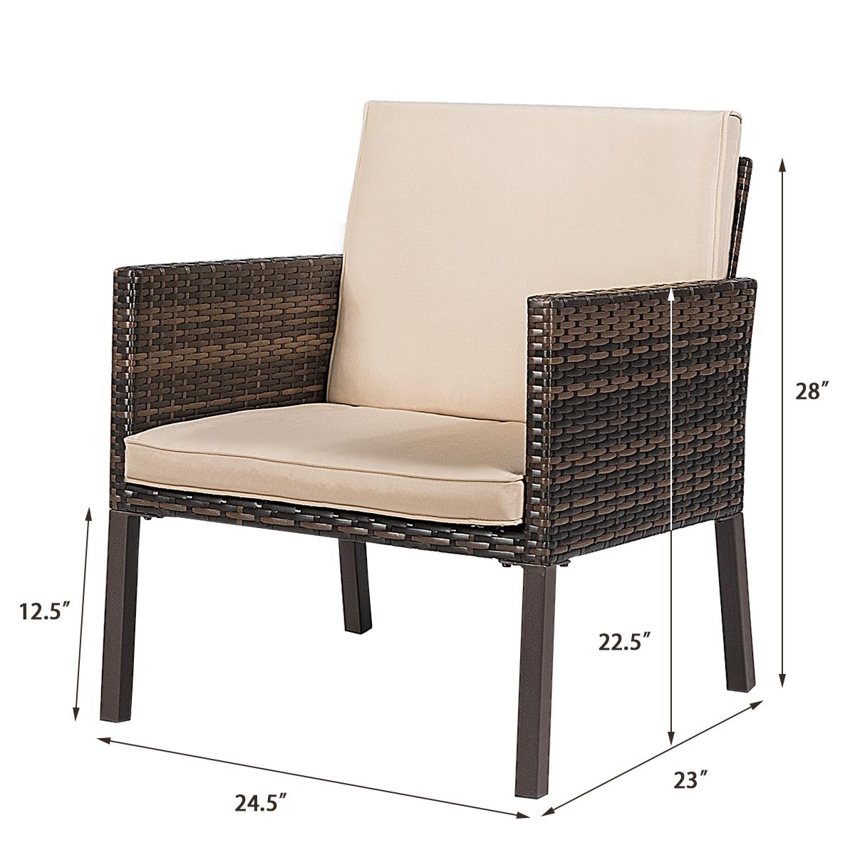 5 pcs Rattan Patio  Ottoman Cushioned Garden Furniture Set Chairs