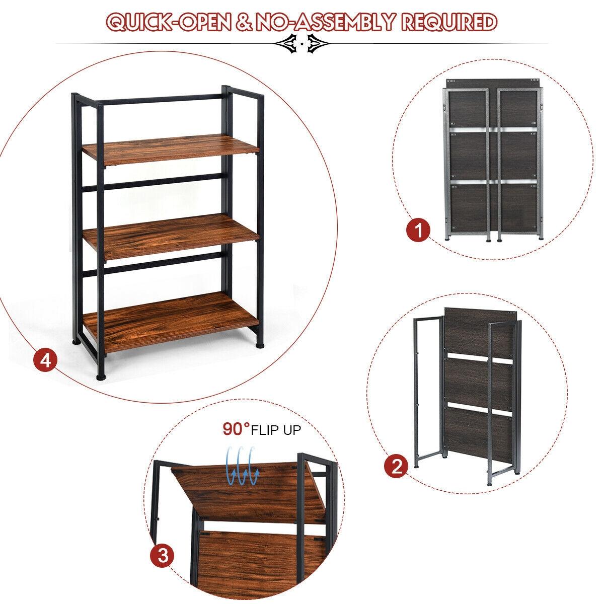 3-Tier Portable Display Folding Bookshelf Storage Shelf