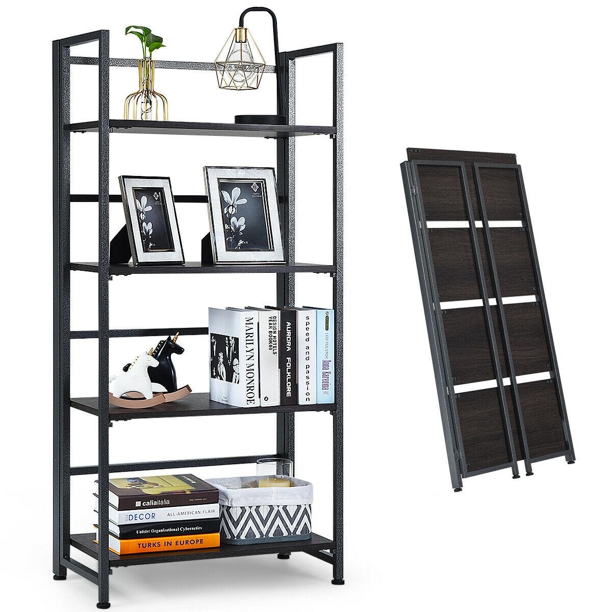 4-Tier Folding Bookshelf Foldable Portable Metal Storage