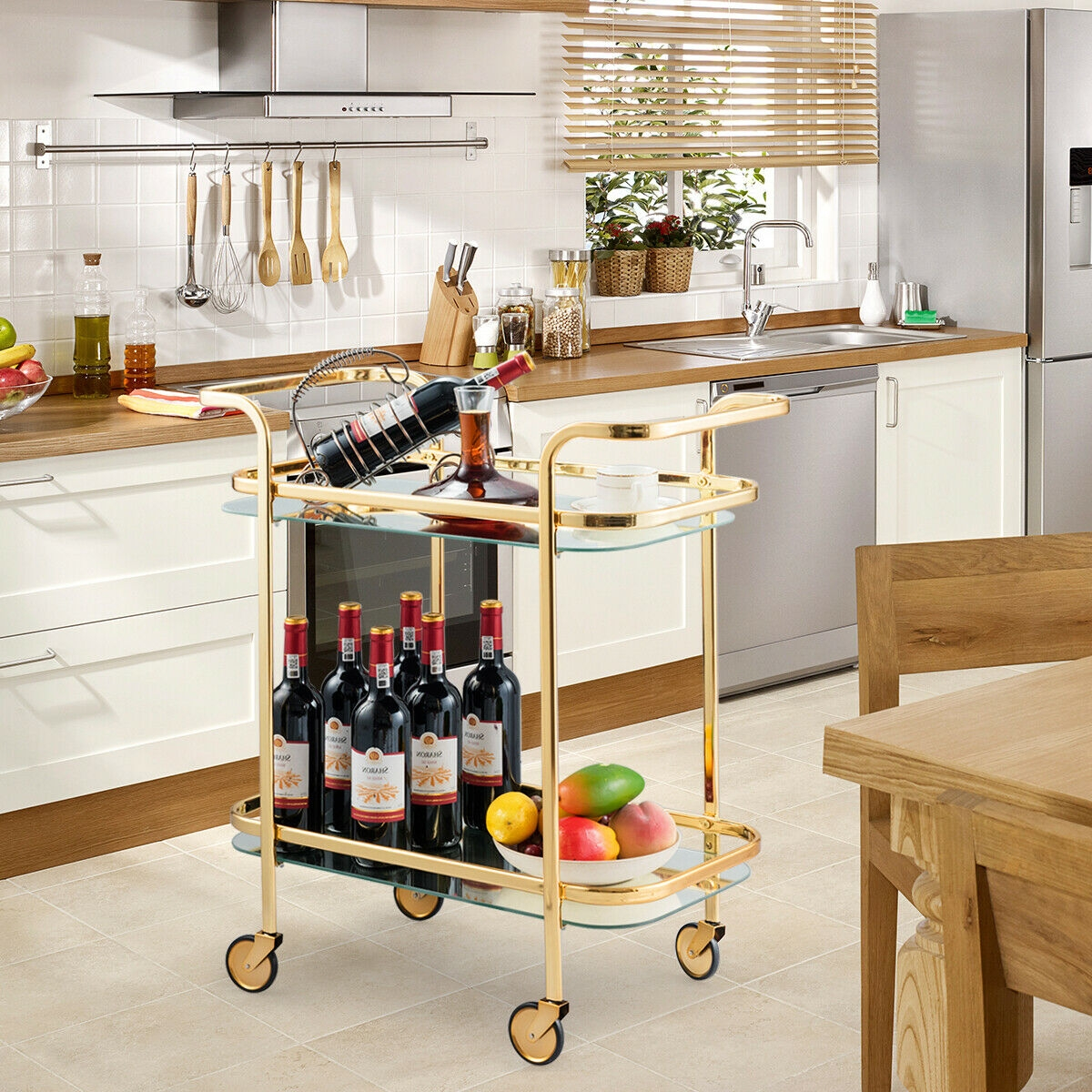 2 Tier Metal Frame Rolling Kitchen Cart with Glass Shelves