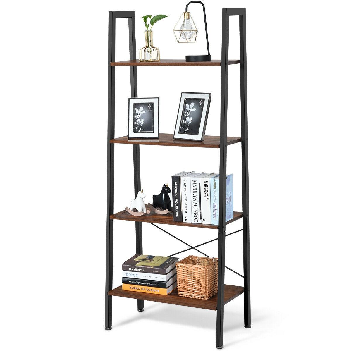 4-Tier Ladder Shelf Bookcase Bookshelf Display Rack Plant Stand