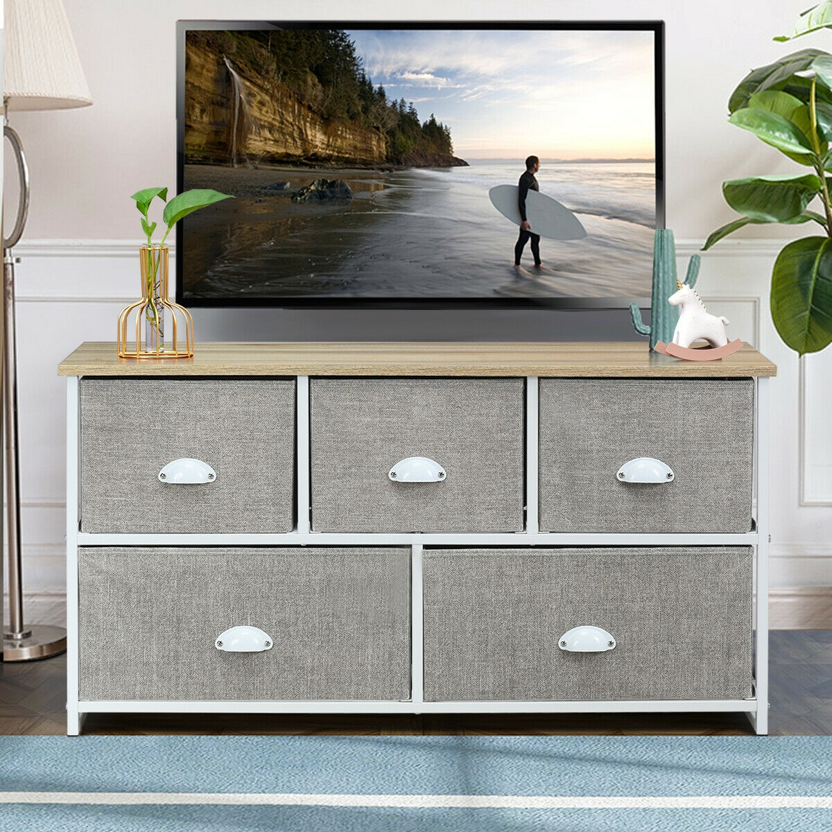 Dresser Storage Unit Side Table Display Organizer Dorm Room Wood