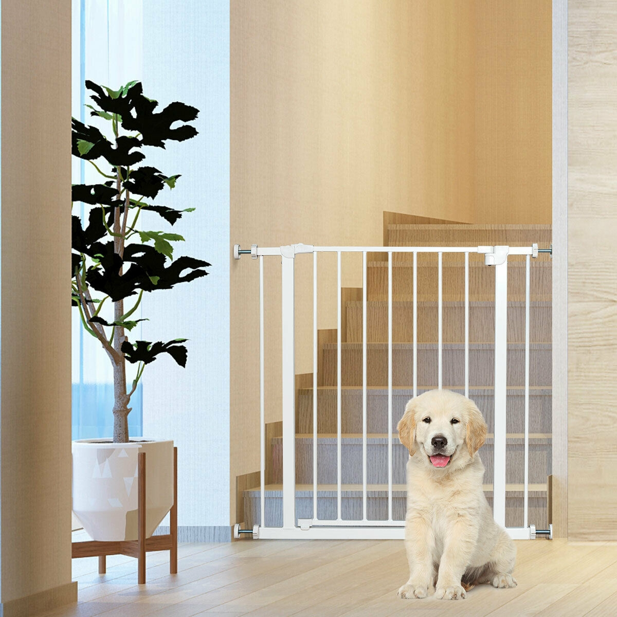 Child Pets Safety Gate Door Metal Easy Locking System