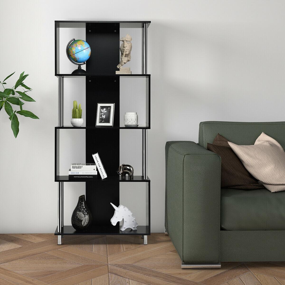 Industrial Style 4 Shelf Modern Storage Display Bookcase