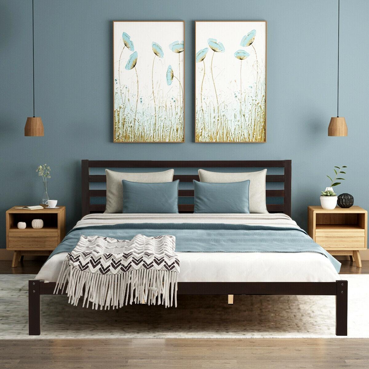 Platform Bed King Size Bed Frame Wood Slat Support