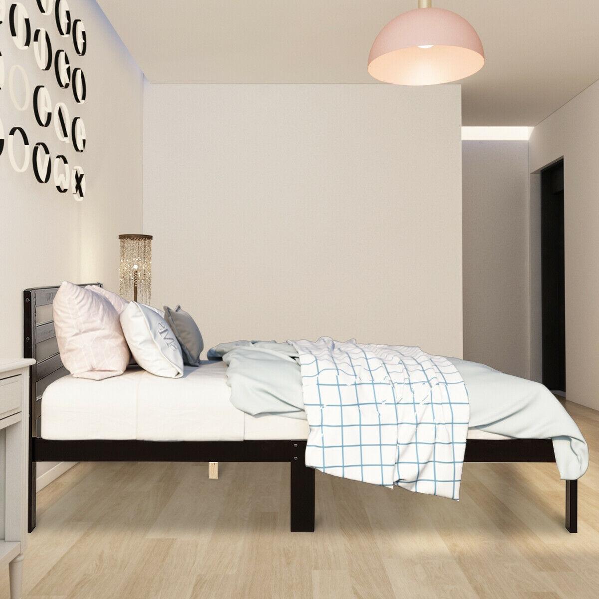 Platform Bed Twin Size Bed Frame Wood Slat Support
