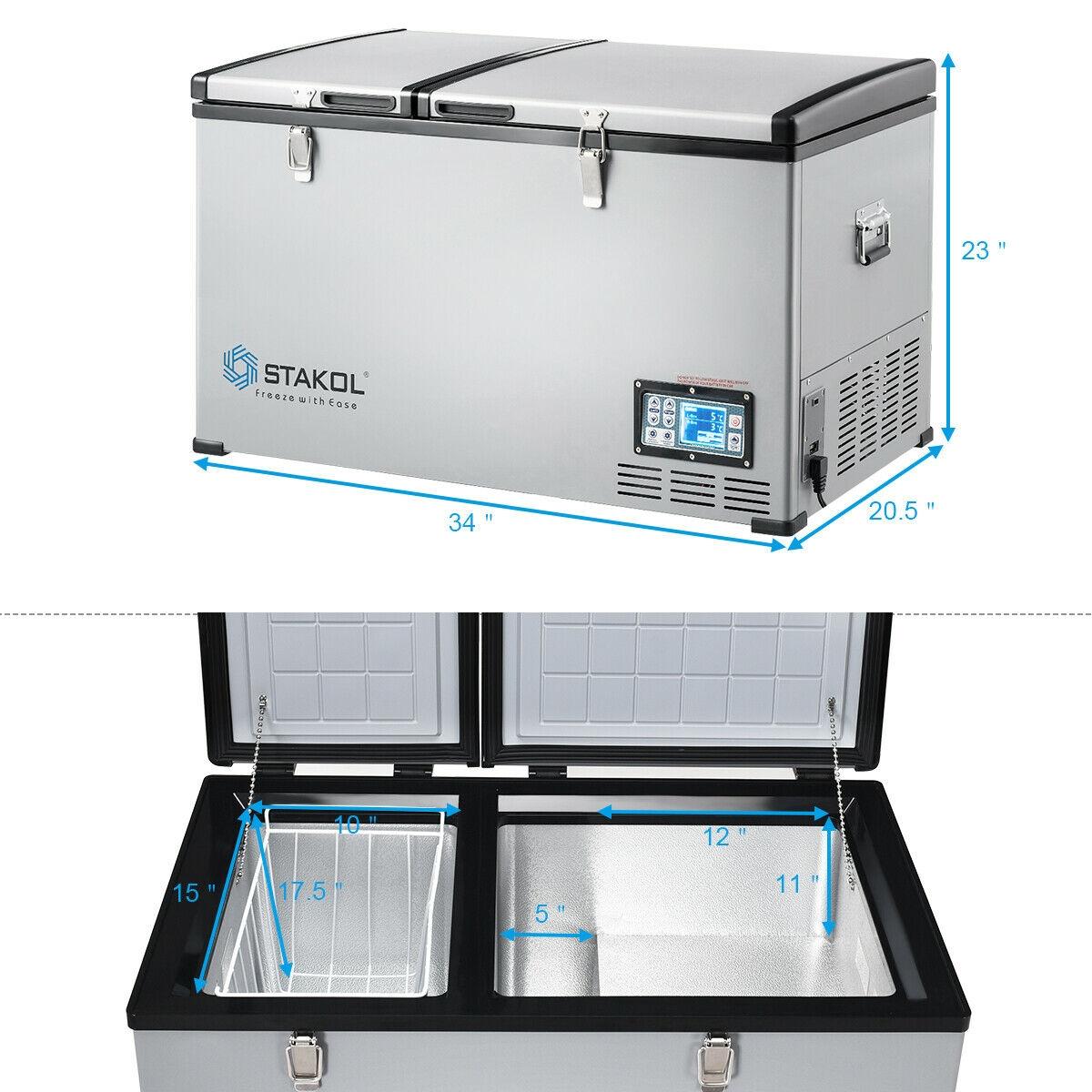 105-Quart Portable Compressor Camping Electric Car Refrigerator