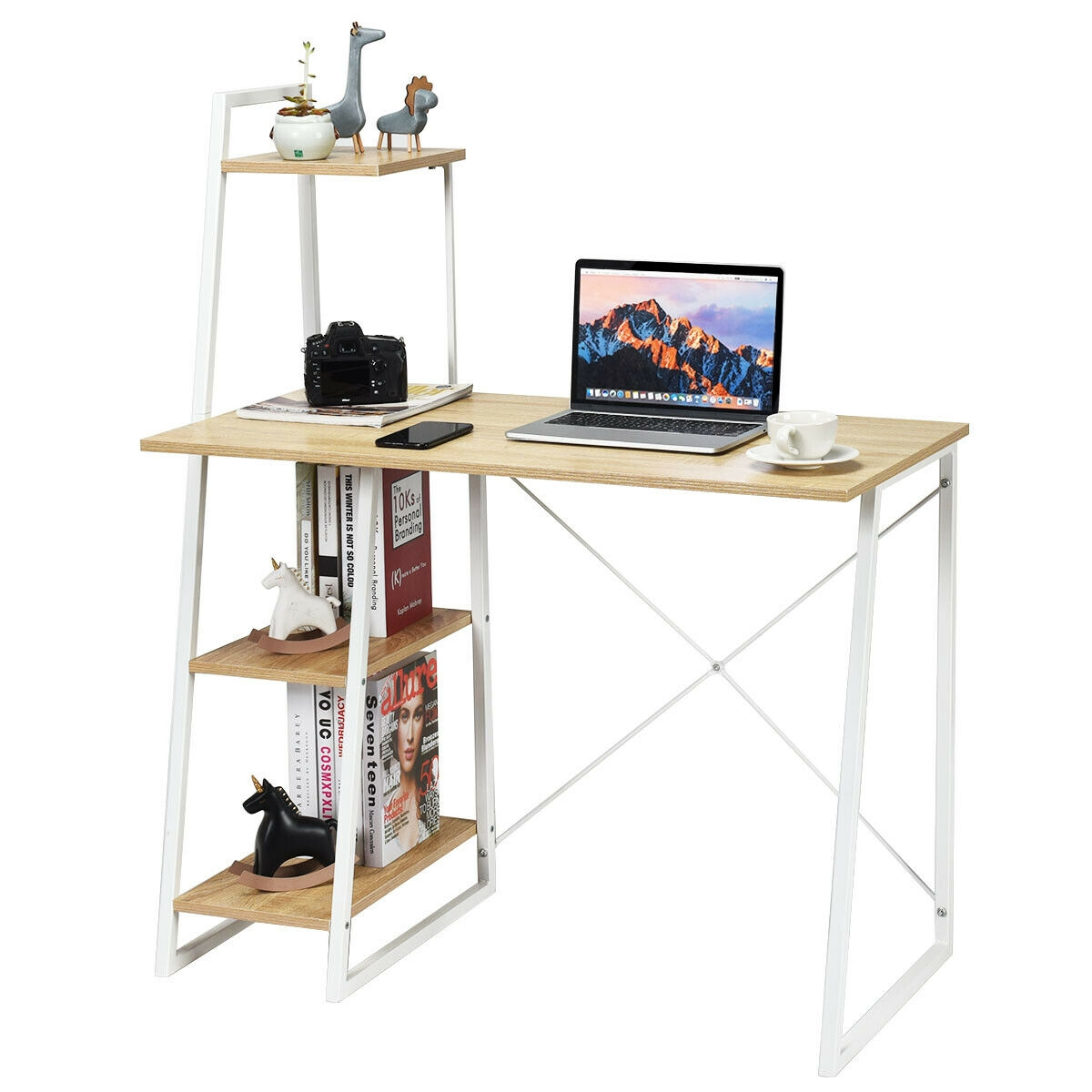 Study Workstation Computer Desk with 4 Tier Shelves