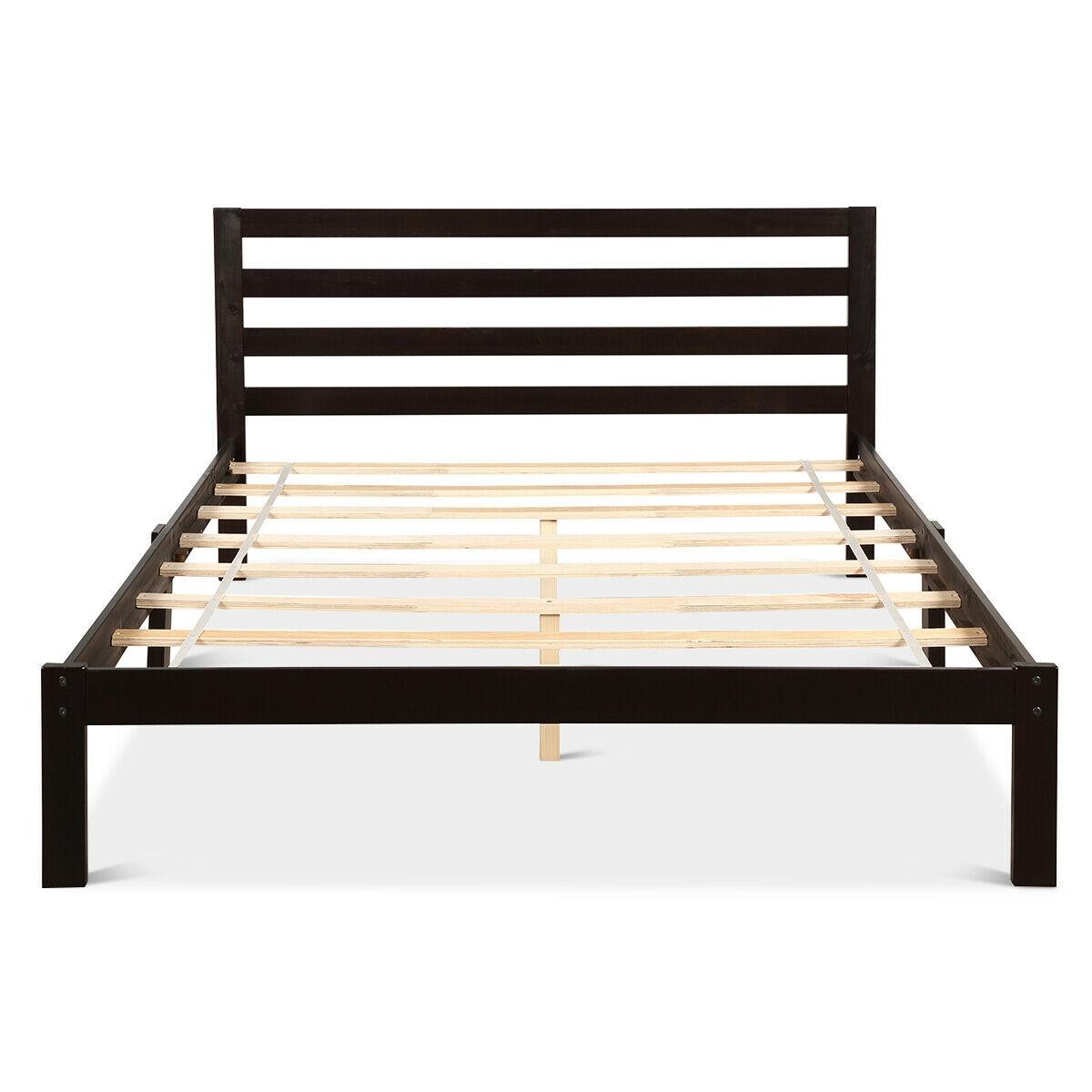Solid Wood Platform Bed Wood Slat Support Queen Size Bed Frame