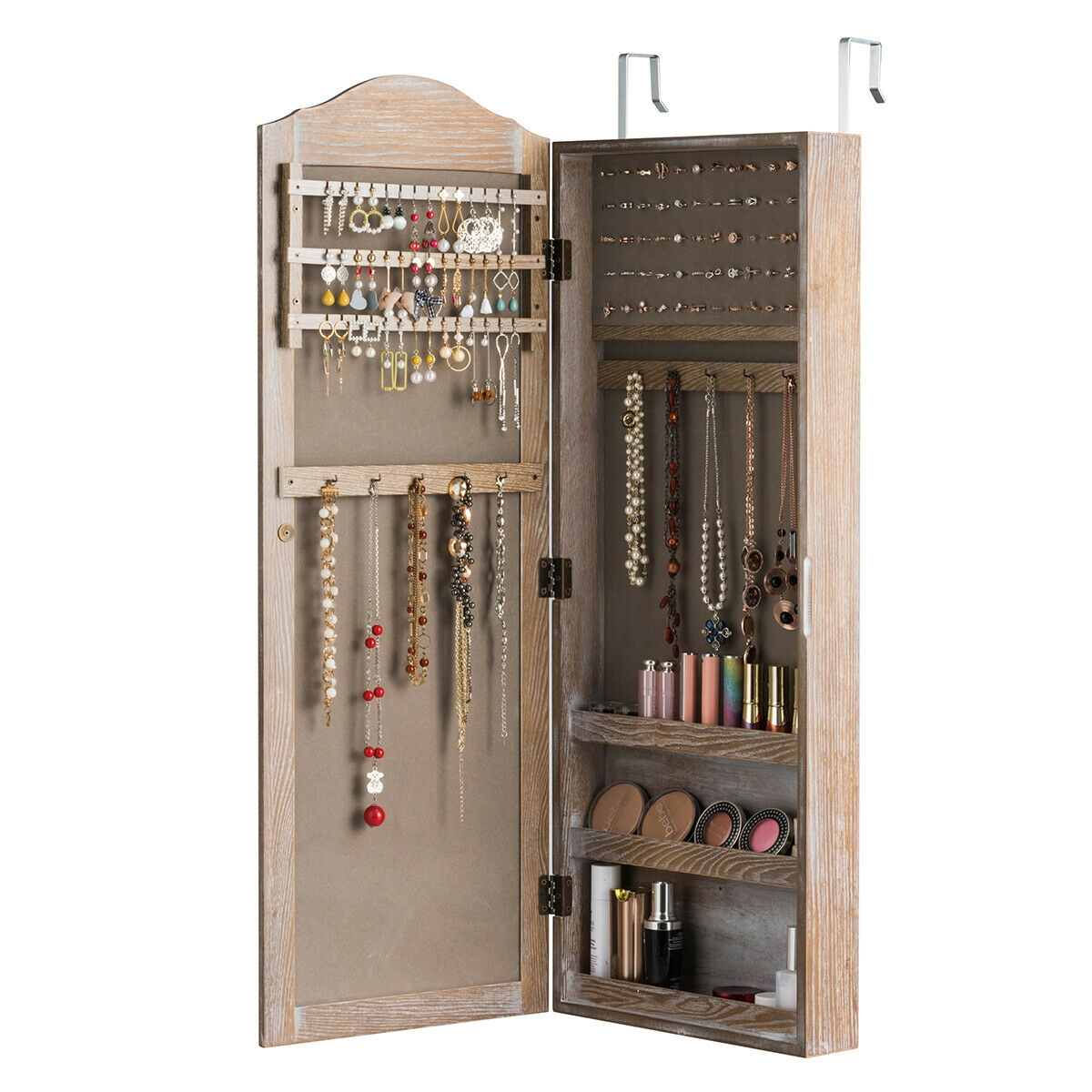 Cabinet Wall/Door Mounted with Mirror Jewelry Armoire