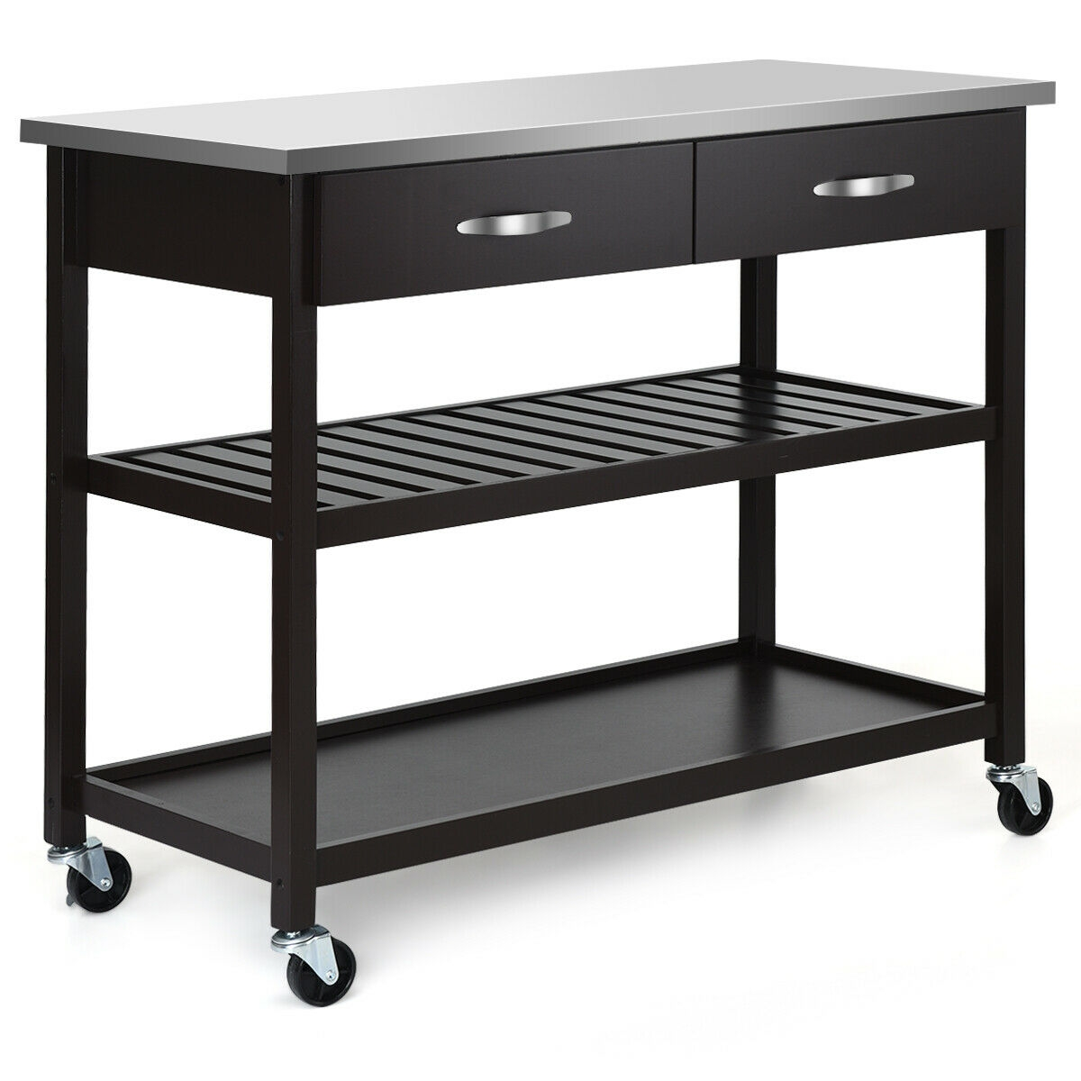 Rolling Kitchen Trolley Cart Island with Stainless Steel Countertop