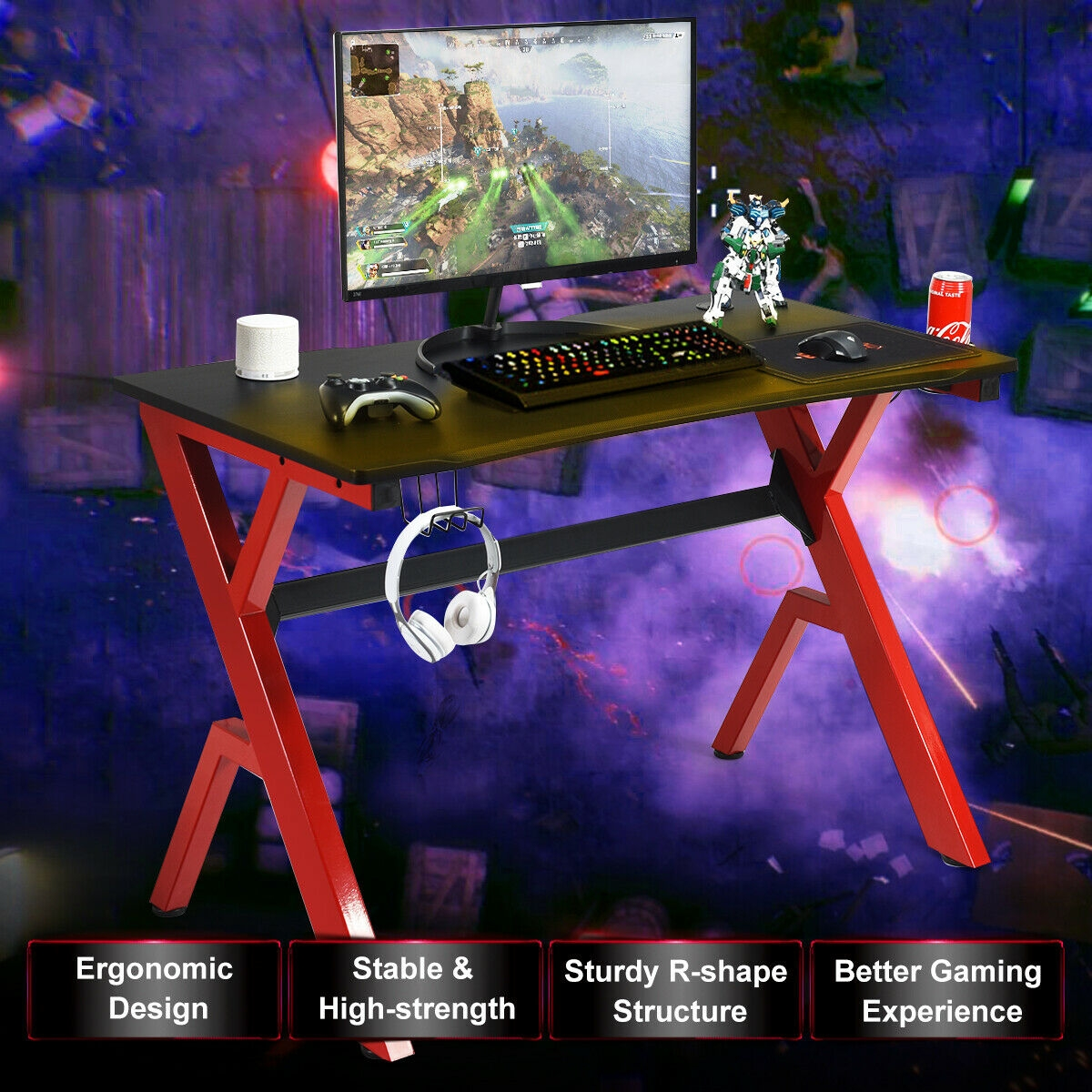 Headphone Mouse Pad & Cup Holder Storage Gaming Desk