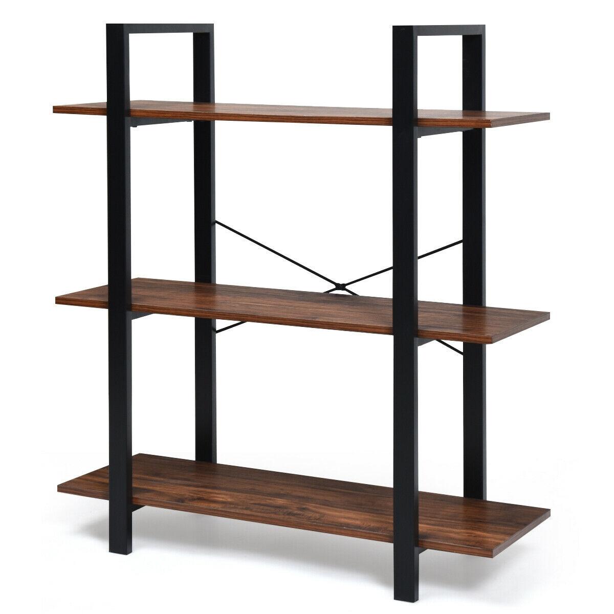 3-Tiers Bookshelf Industrial Bookcases Metal Frame Shelf Stand