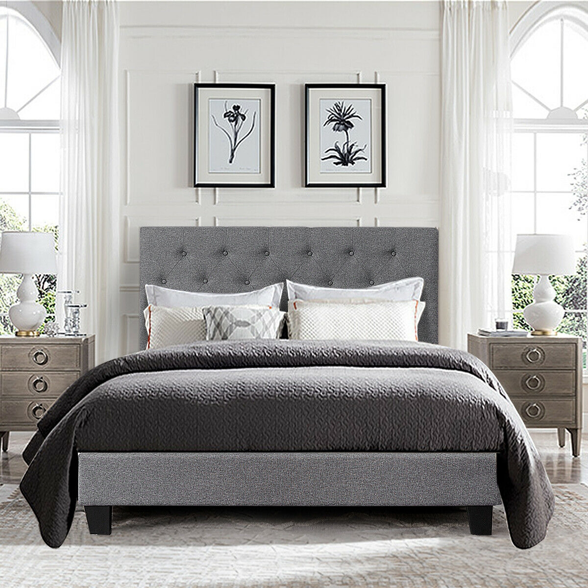 Full Size Upholstered Panel Bed With Linen Panel