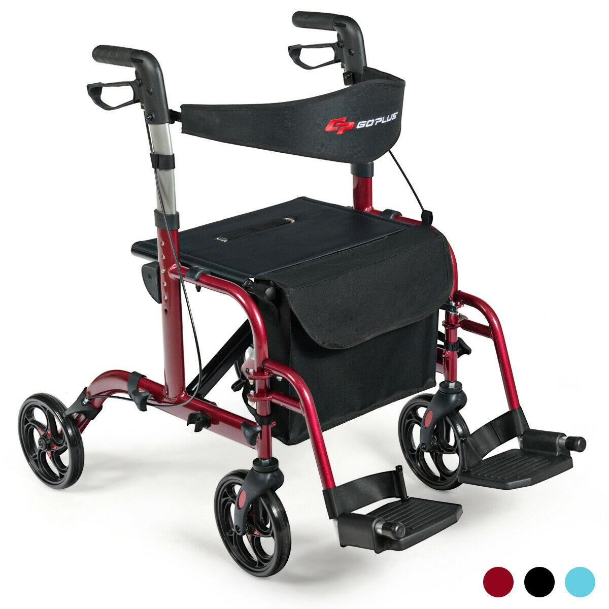 Aluminum Adjustable Folding Handle Medical Walker Rollator