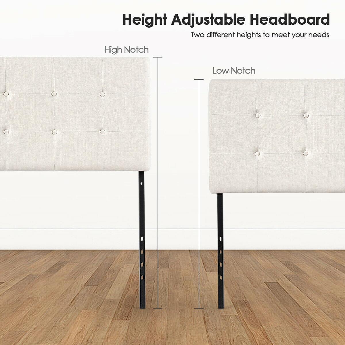 Adjustable Queen & Full Size Linen Fabric Upholstered Headboard-Beige