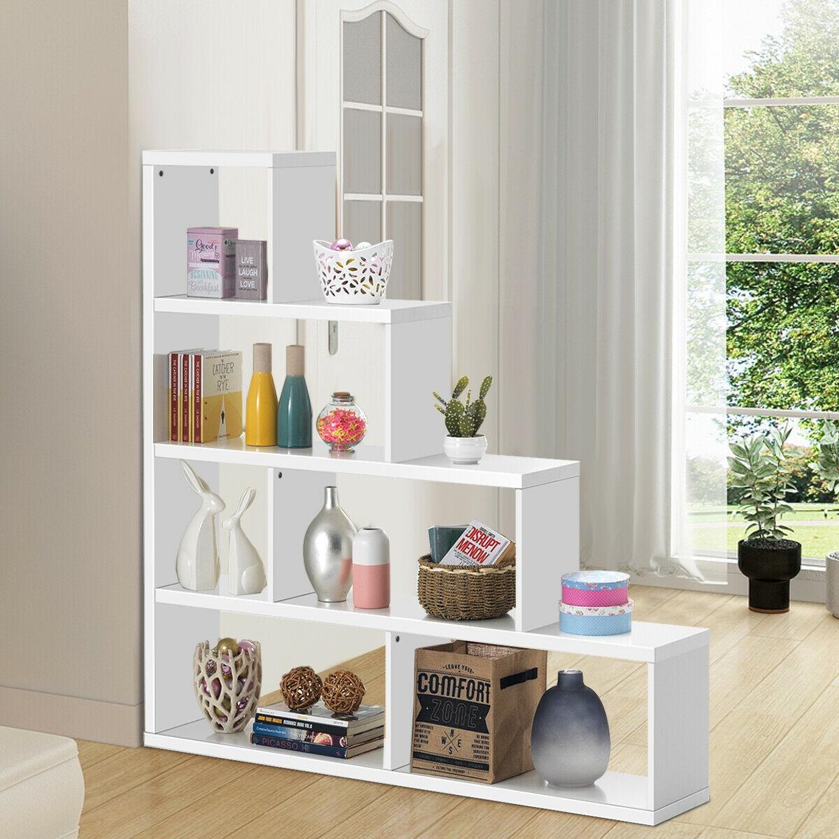 6 Cubes Ladder Shelf Corner Bookshelf Storage Bookcase