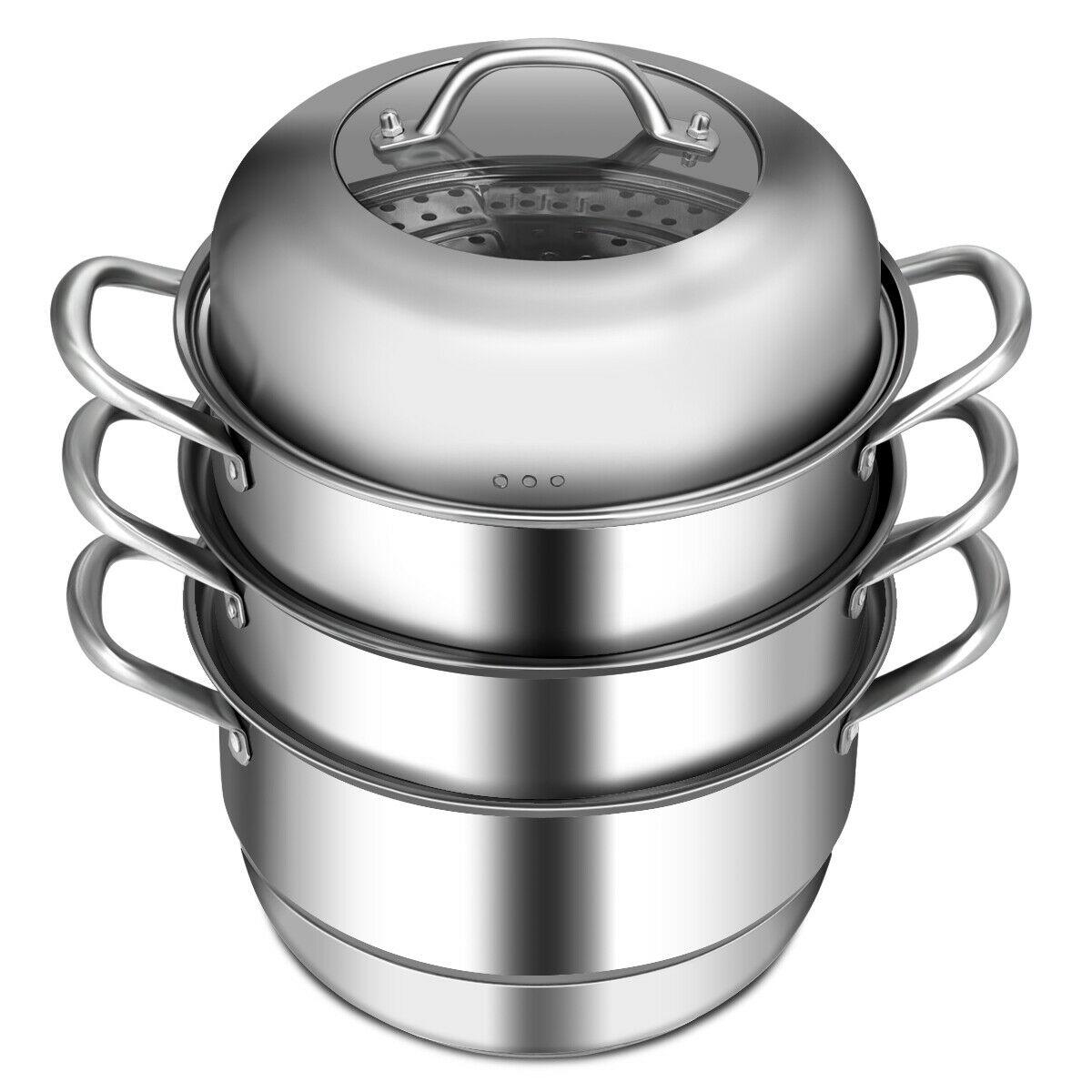 3 Tier Stainless Steel Steamer Set Cookware Pot Saucepot Double Boiler