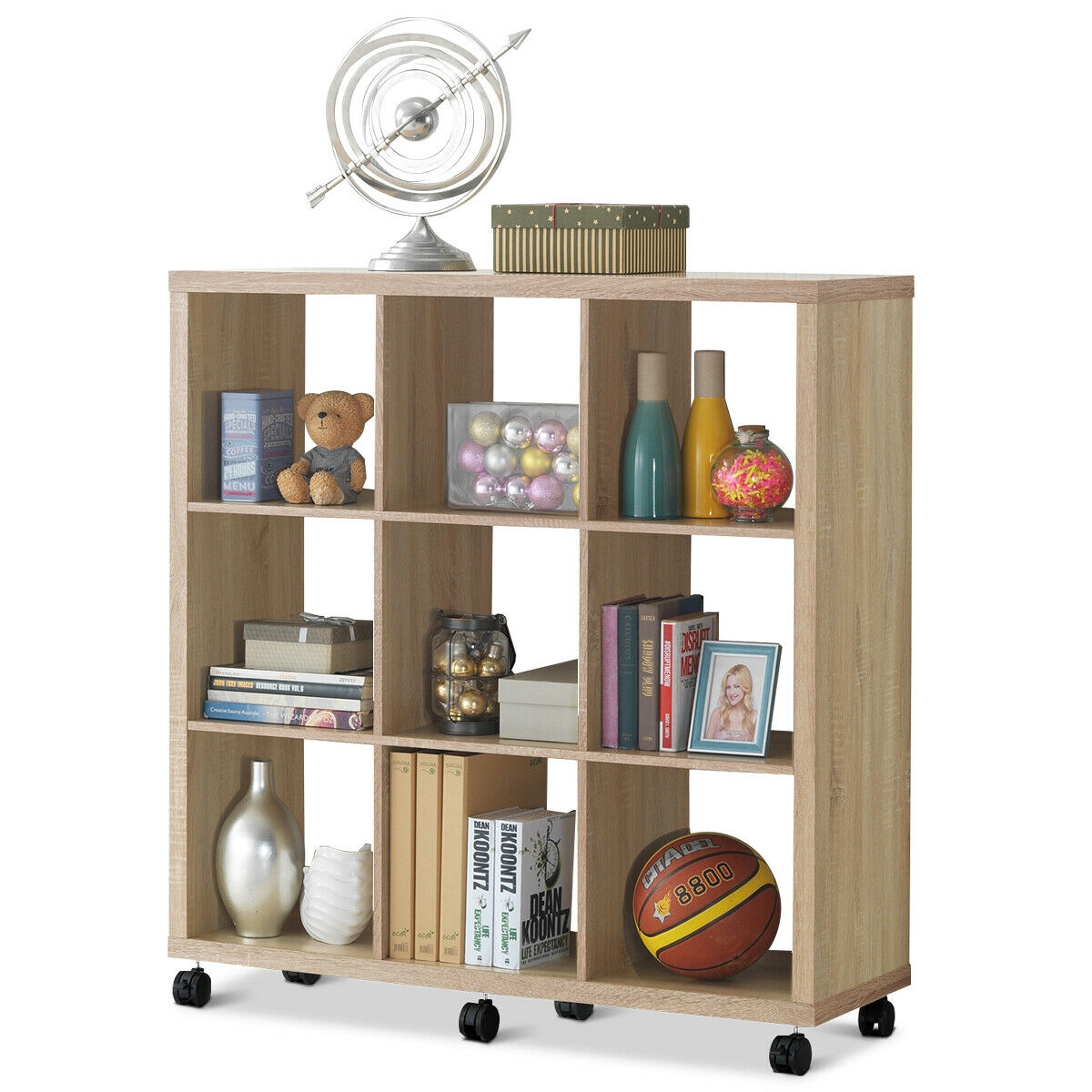 8 Cubes Ladder Shelf Freestanding Corner Bookshelf Display Rack Bookcase