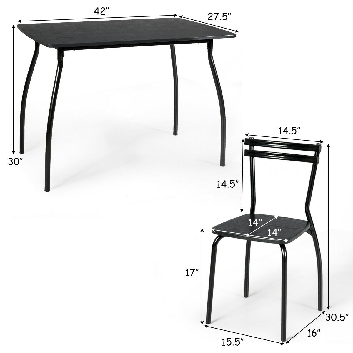 Black 5 Pcs Dining Set Table And 4 Chairs