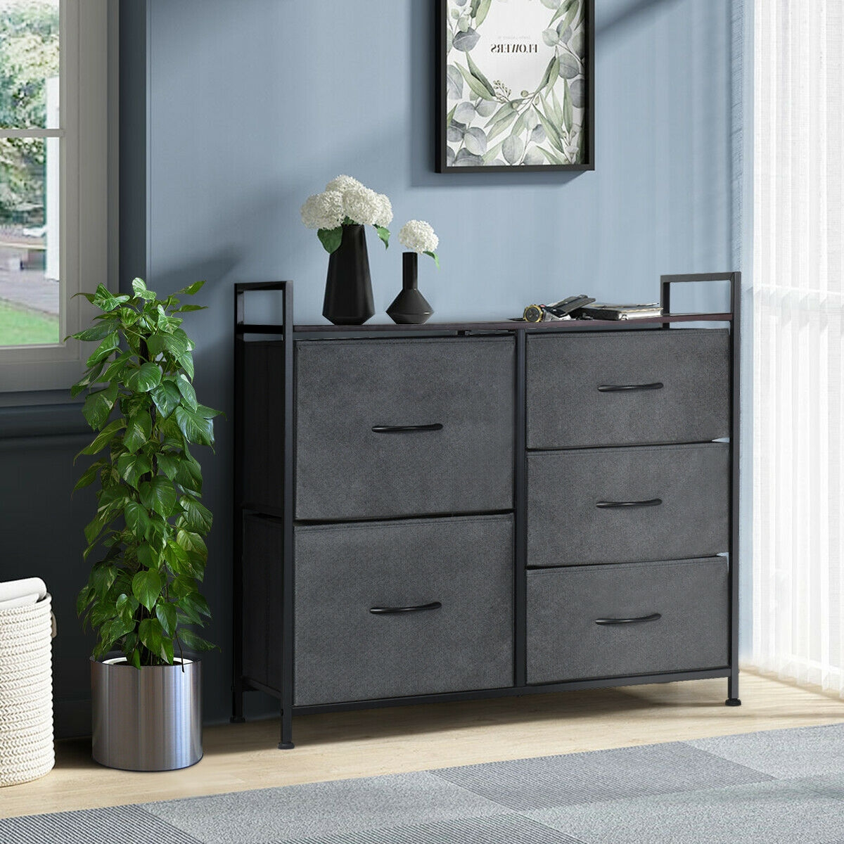 5 Drawers Room Wood Dresser Storage Side Table Display Organizer