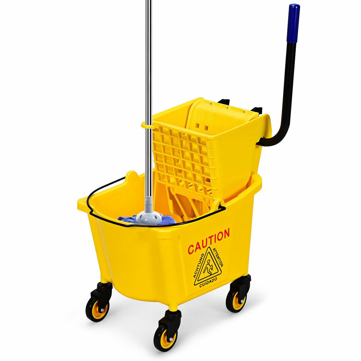 26 Quart Side Press Wringer Commercial Mop Bucket