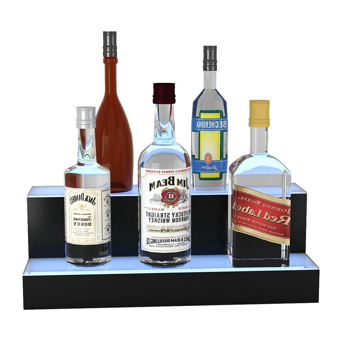 2 Step LED Lighted Liquor Bottle Display Shelf