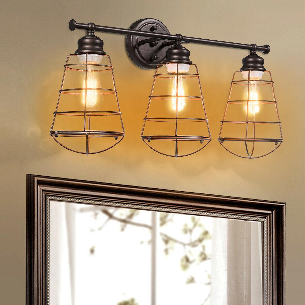 3-Light Vanity Lamp Bathroom Fixture with Metal Wire Cage