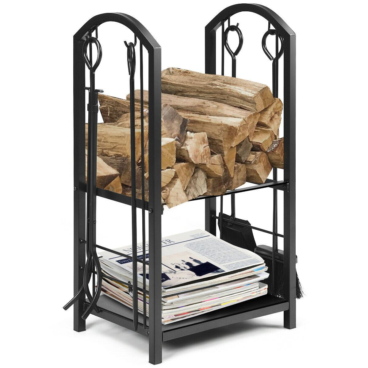 Fireplace Log Rack with 4 Tools Set Fireside Firewood Holders