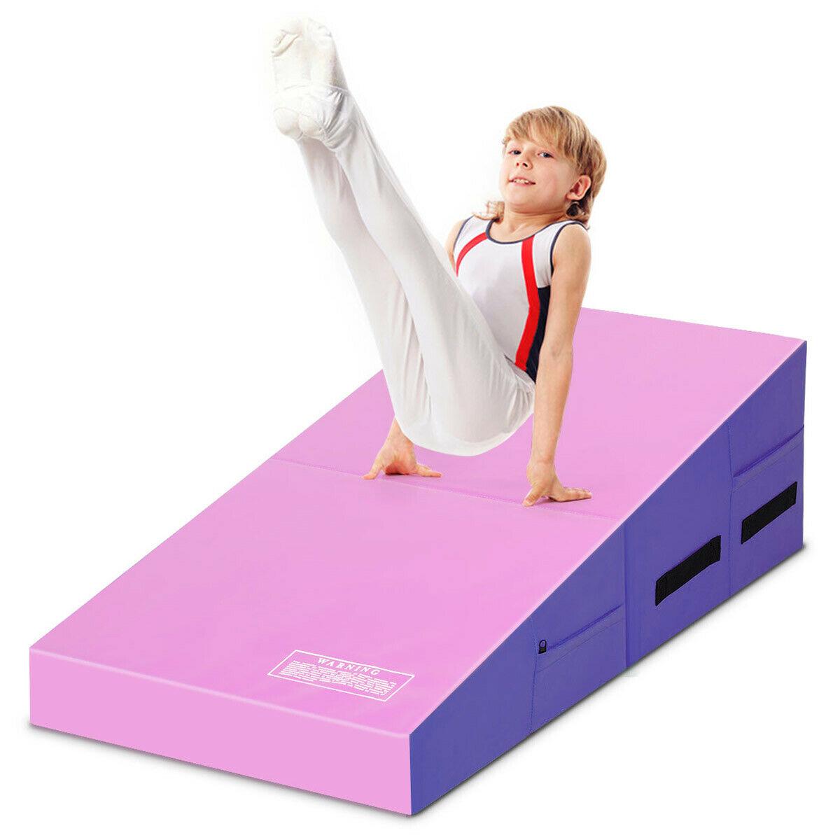 Folding Wedge Exercise Gymnastics Mat with Handles