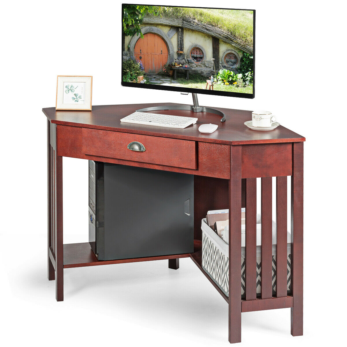 Corner Writing Desk with Drawer & Shelves