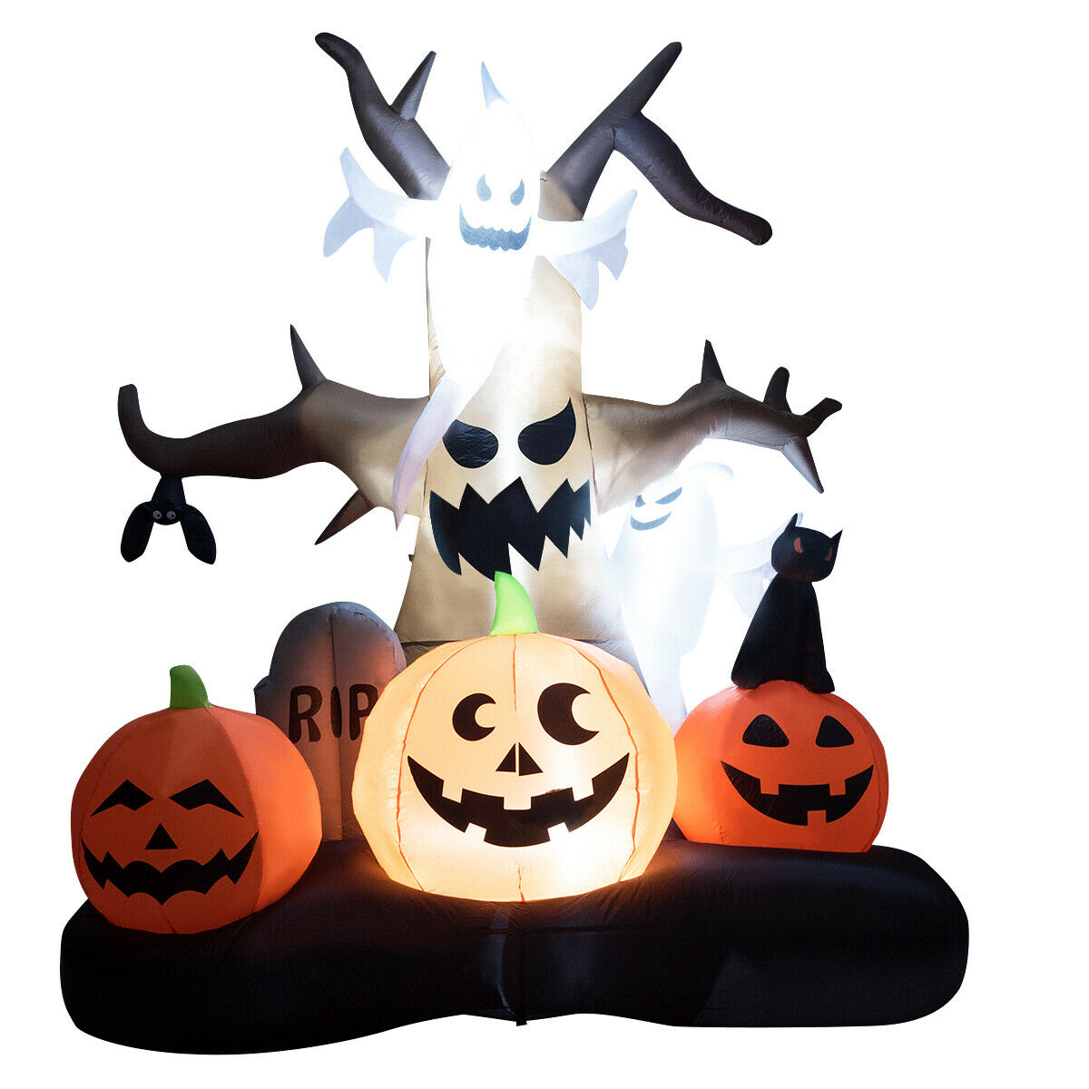 10' Inflatable Dead Tree with Ghost and Pumpkins