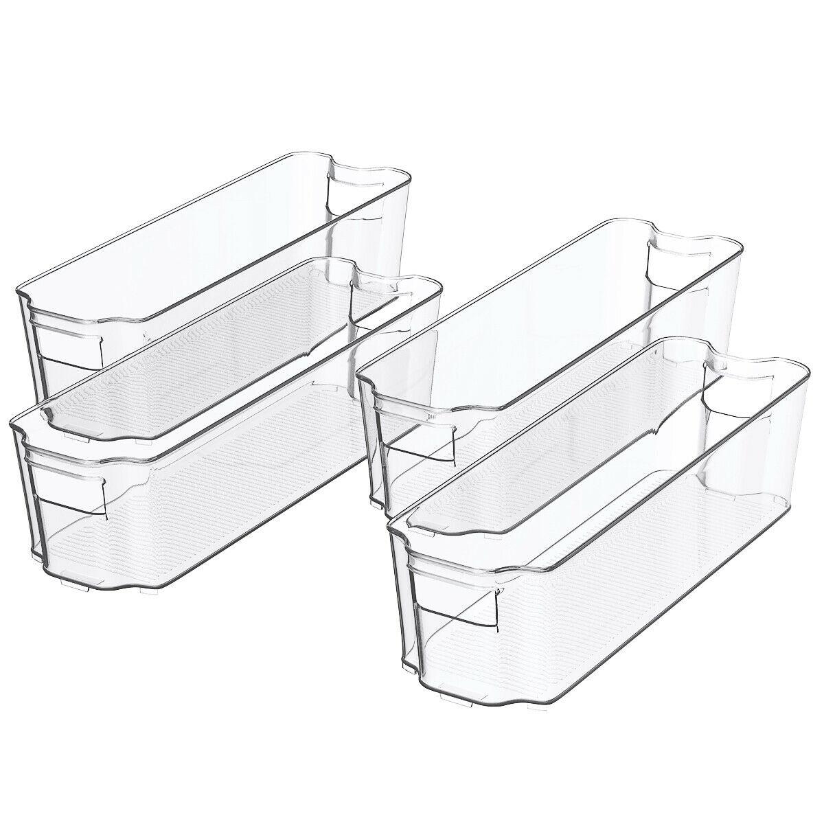 Set of 4 Stackable Refrigerator Organizer Bins