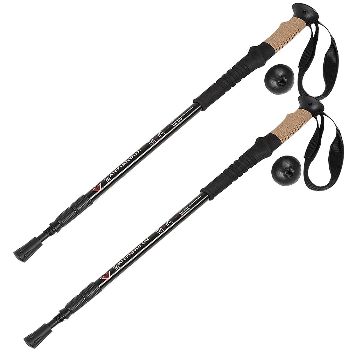Pair 2 Alpenstock Adjustable Anti-Shock Hiking Sticks