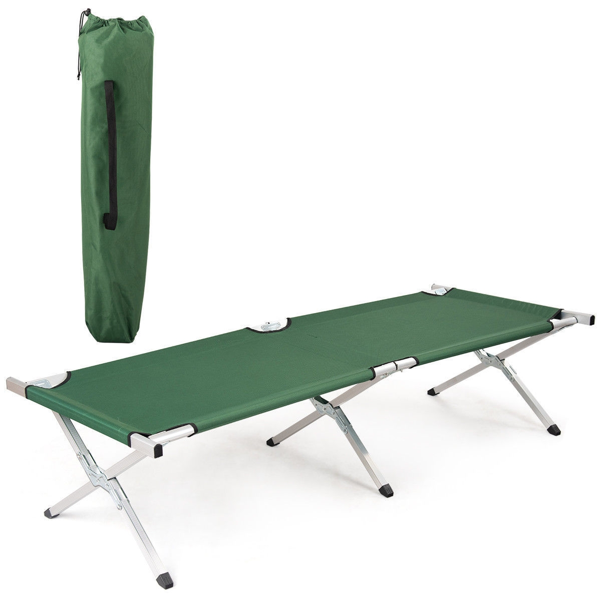 Foldable Camping Hiking Bed Portable Military Cot w/ Carrying Bag-Green