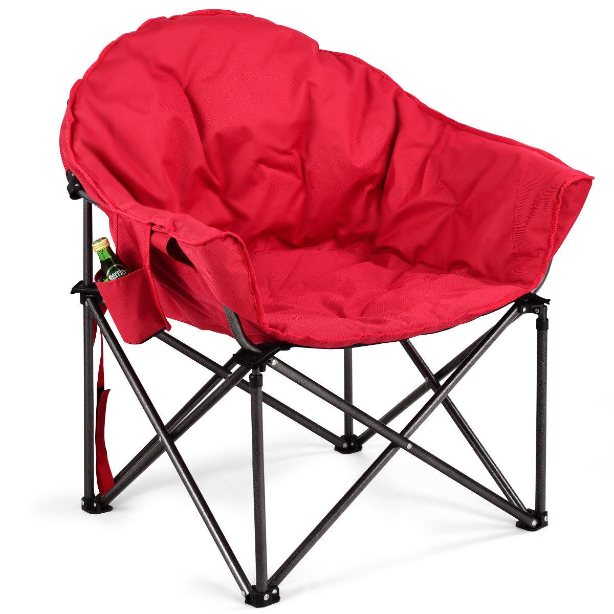 Oversized Folding Camping Moon Chair with Cup Holder