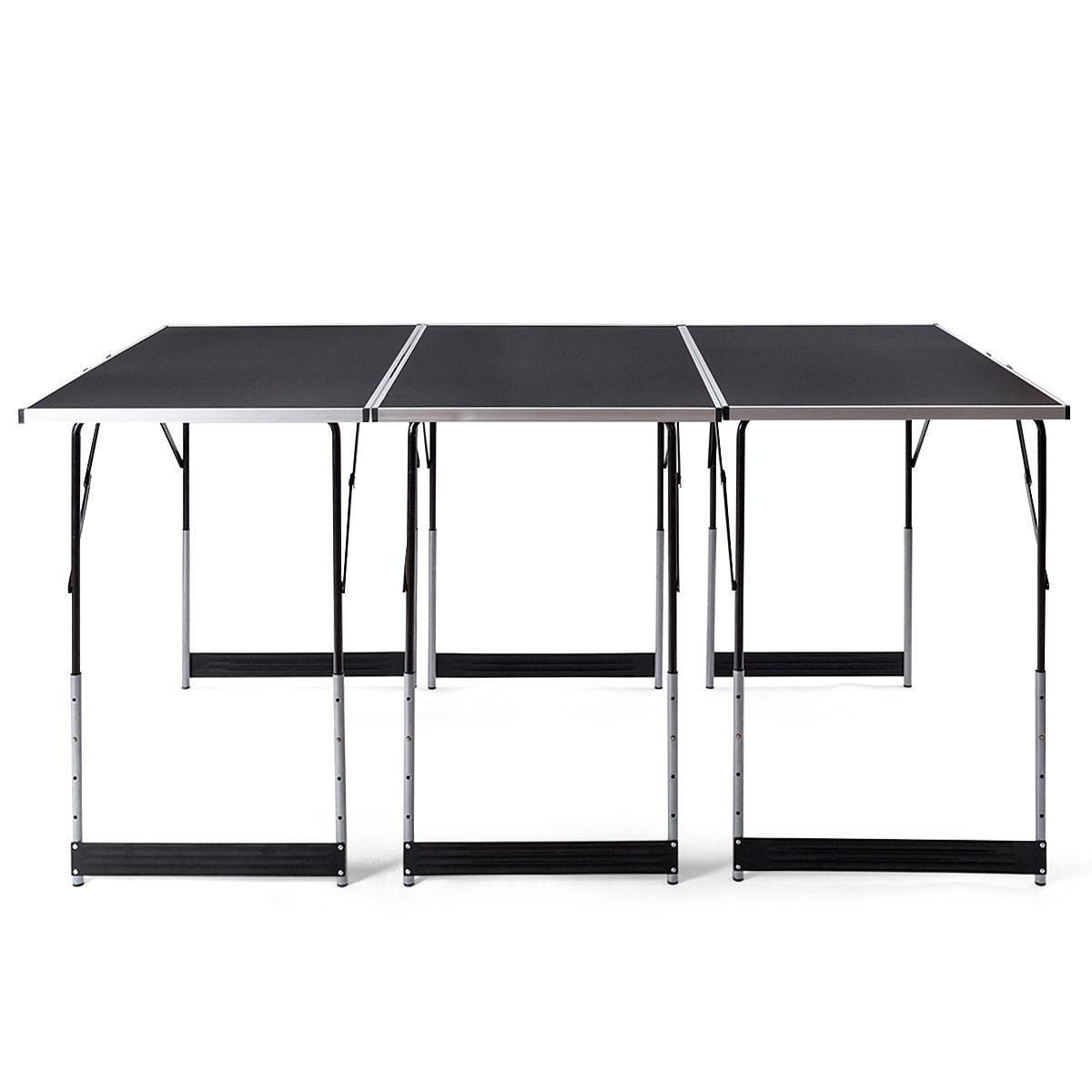 3 pcs Folding Height Adjustable Camping Picnic Table Set
