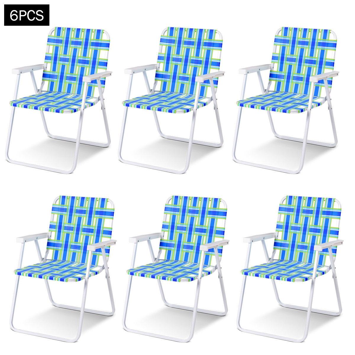 6 pcs Folding Beach Chair Camping Lawn Webbing Chair-Blue