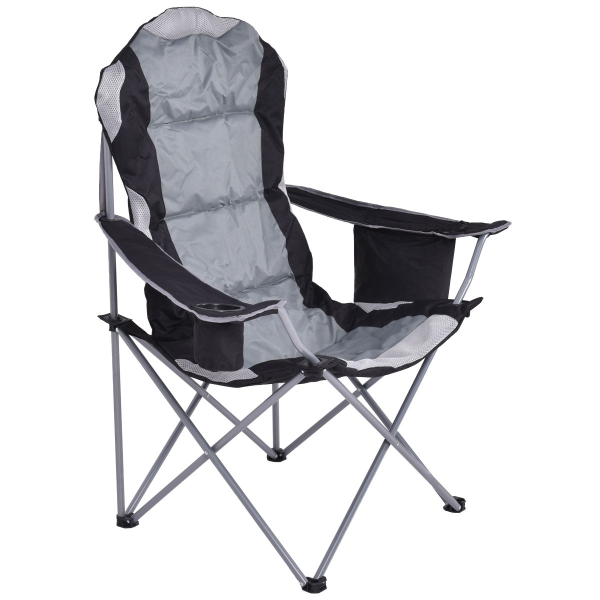 Fishing Camping Chair Seat Cup Holder Beach Picnic Outdoor Portable Folding Bag-Gray