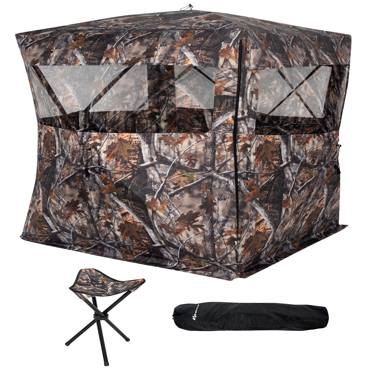 Portable Camo Waterproof Pop Up Ground Hunting Blind Stool Set-B
